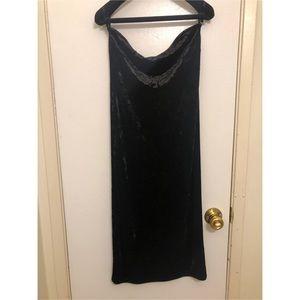 Strapless black velvet midi dress